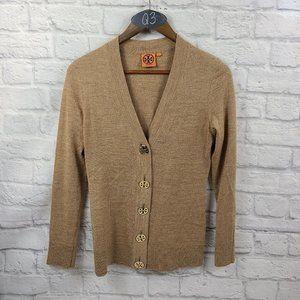 Tory Burch Simone Merino Wool tan Cardigan